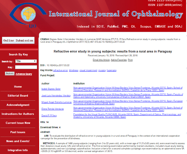 Teachers of SAERA get an article published on the International Journal of Ophthalmology